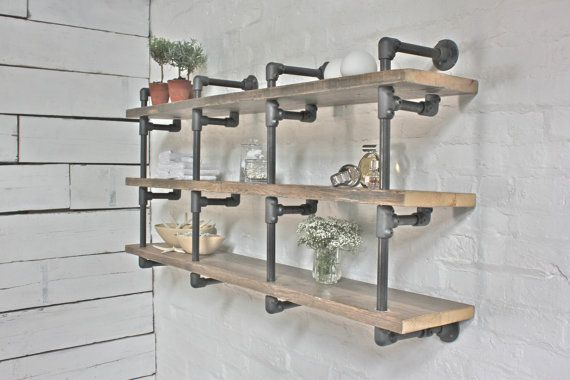Reclaimed Scaffolding Boards and Steel Pipe Wall Mounted Shelving/Bookcase - Its salvaged vintage industrial design works perfectly in a