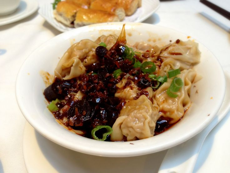 Wontons in Spicy Sauce at Kirin Restaurant, Vancouver. http://foodietours.ca/photo-guide-dim-sum-kirin-restaurant/