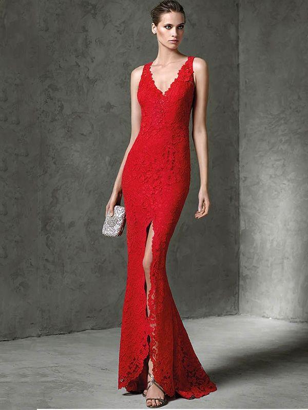 a71d2582c6 Lace Solid Color Deep V Neck Sleeveless Split Mermaid Dresses  party   wedding  eveningdress