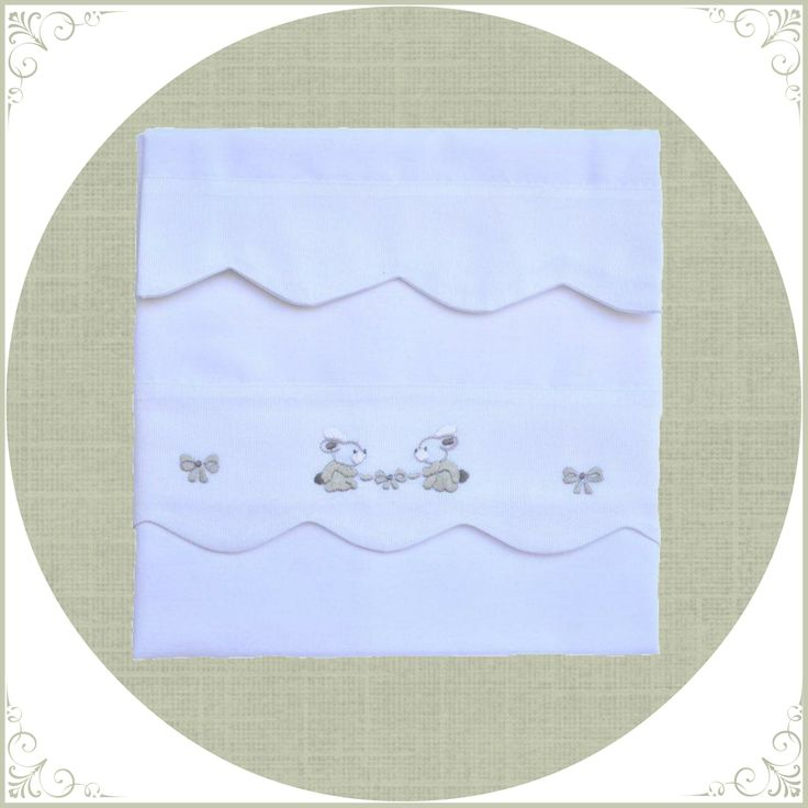 crib sheet w pillow hand made embrodery white & gray