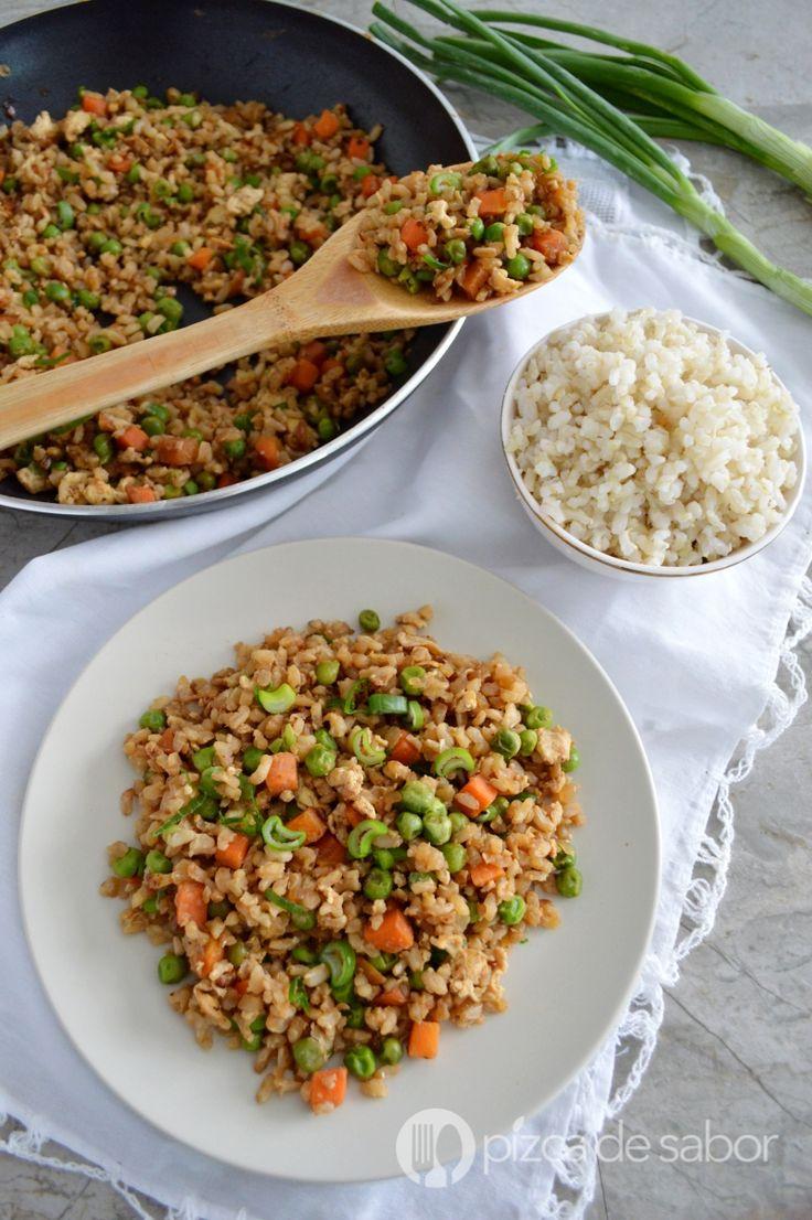 Arroz frito con arroz integral www.pizcadesabor.com