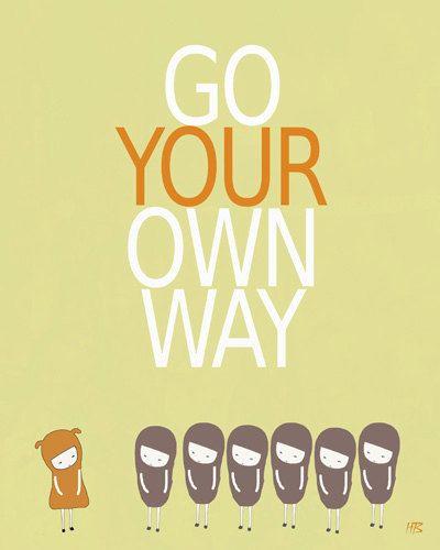 Art print, famous song, lyrics quote, room decor, inspiring text, motivational wall art poster, go your own way, light green, orange via Etsy