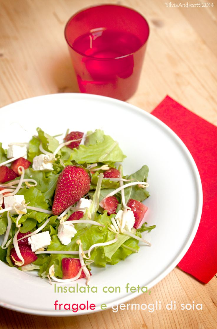 Salad with feta cheese, strawberries and soybean sprouts