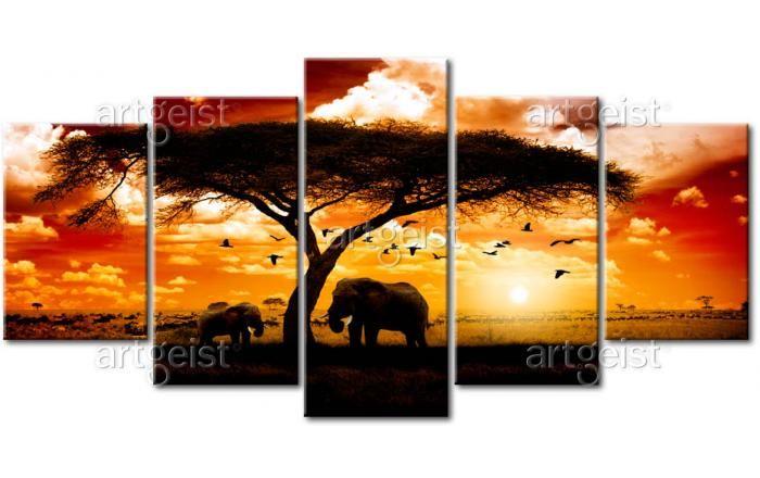 Vedi il quadro Uccelli sopra la savana e altre decorazioni murali nella galleria di bimago - quadri dipinti a mano, quadri trittici, reproduzioni e foto su tela.