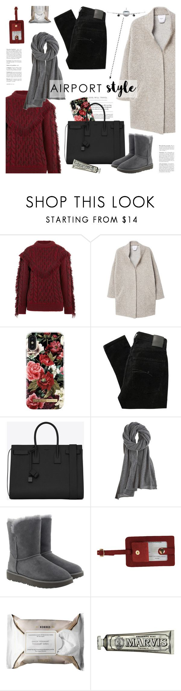 """wanderlust wonderful: airport style"" by jesuisunlapin ❤ liked on Polyvore featuring Alanui, MANGO, iDeal of Sweden, Nobody Denim, Yves Saint Laurent, Calypso St. Barth, UGG, Royce Leather, Korres and C.O. Bigelow"
