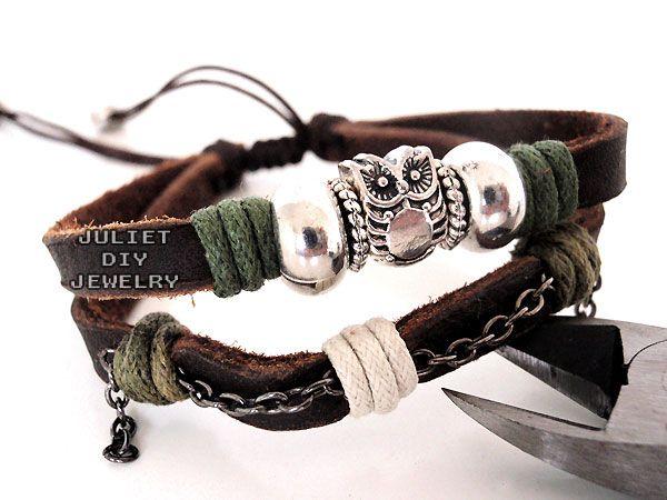 Owl charm silver bead leather bracelet, owl charm