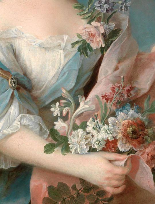 François-Hubert Drouais, Portrait d'une Elégante (detail) 18th century