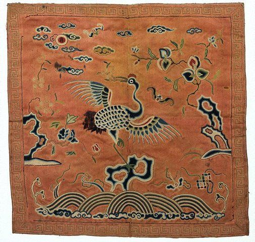 Badge with crane insignia 1st or 2nd rank Viet Nam, Nguyen dynasty, circa 1820 embroidered silk, 31.0 x 32.0 cm Gift of Judith and Ken Rutherford 2005 Art Gallery of New South Wales, Sydney, 110.2005