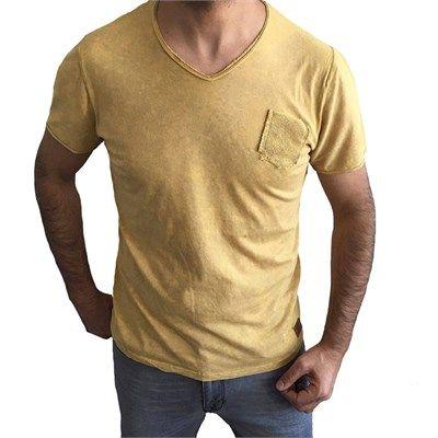 Erkek Fit Kesim V Yaka Cepli Kısa Kol Tişört Sarı