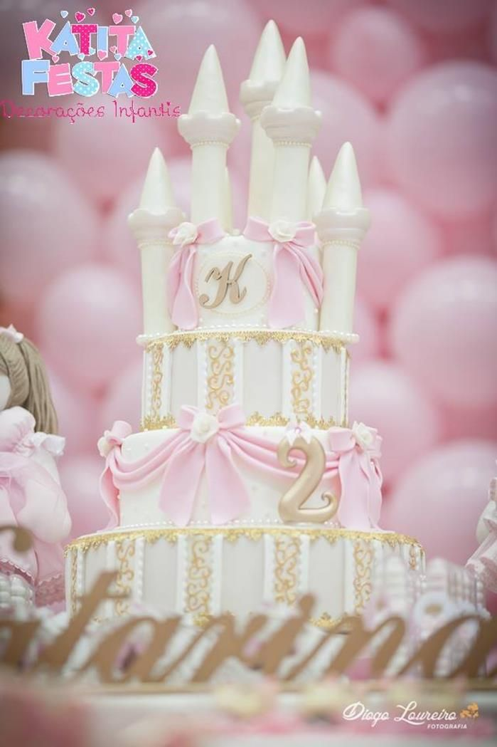 A beuatiful castle cake at a Princess Doll Party Full of Really Cute Ideas via Kara's Party Ideas KarasPartyIdeas.com #PrincessParty #DollParty #GirlParty #PartyIdeas #cake