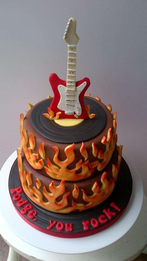 Decorazioni torte di compleanno uomo - Torta di compleanno rock per uomini