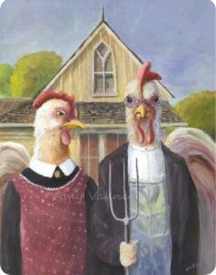 American Gothic Chickens