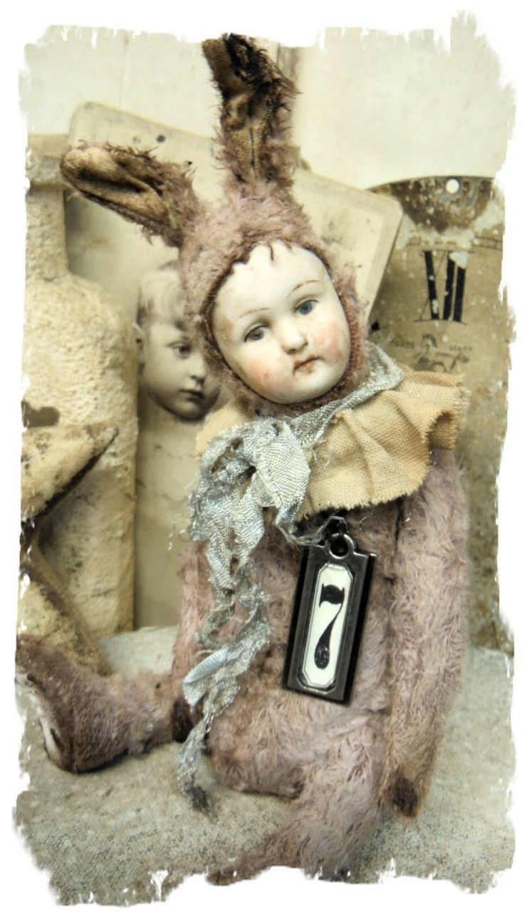 """Limited Edition"""" POPPET #7 * Antique german Bisque Doll Head 8"""" RABBIT Old Hare * By Whendi's Bear"""