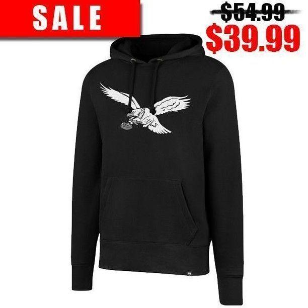 low priced 8f320 a65ca Philadelphia Eagles Throwback Bird Logo Black Pullover ...