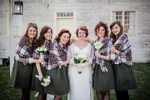 Winter wedding bridesmaid dress idea - green dresses + plaid scarves  {Amanda May Photos}