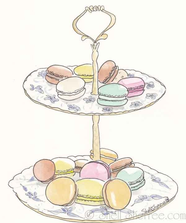 Gorgeous Illustration French Macarons for Tea - Pastel Macarons sweet art - giclee print of original illustration. $25.00, via Etsy.