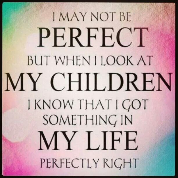I may not be perfect but when I look at my children I know