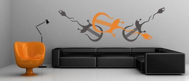 Kytara A (1095) / Samolepky na zeď, stěnu a nábytek