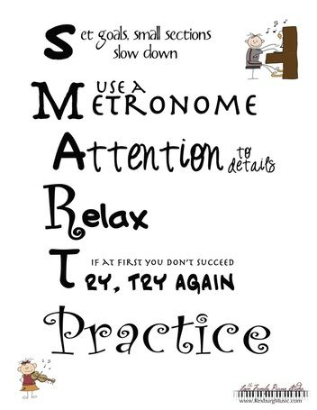 Smart Practice is what makes perfect! Piano students are reminded weekly to practice, practice, practice. But how? This printable helps students focus on a few tips for effective practice.