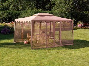 """Living Accents Gazebo with Mosquito Netting, Taupe 10' X 12' X 9-3/4' by Living Accents. $134.97. Includes mosquito netting. 1 Sunjoy """"Living Accents"""" Gazebo. Sturdy steel frame construction. ot intended to be used as a permanent structure. Could be damaged by strong winds.. Dimensions: 10' x 12' x 9-3/4' H - Color: Taupe. """"LIVING ACCENTS"""" GAZEBO *10' x 12' x 9-3/4'H *Includes mosquito netting *Sturdy steel frame construction *Taupe *Not intended to be used as a permanent st..."""
