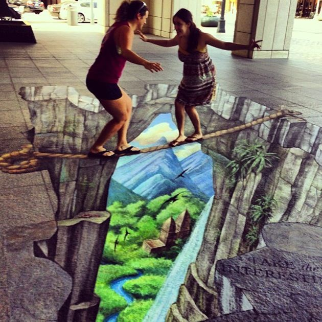 Walking a tight rope, Chalk Art