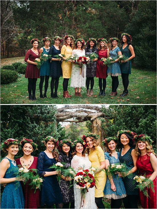 Fall bridesmaid idea - mix and matched bridal party.