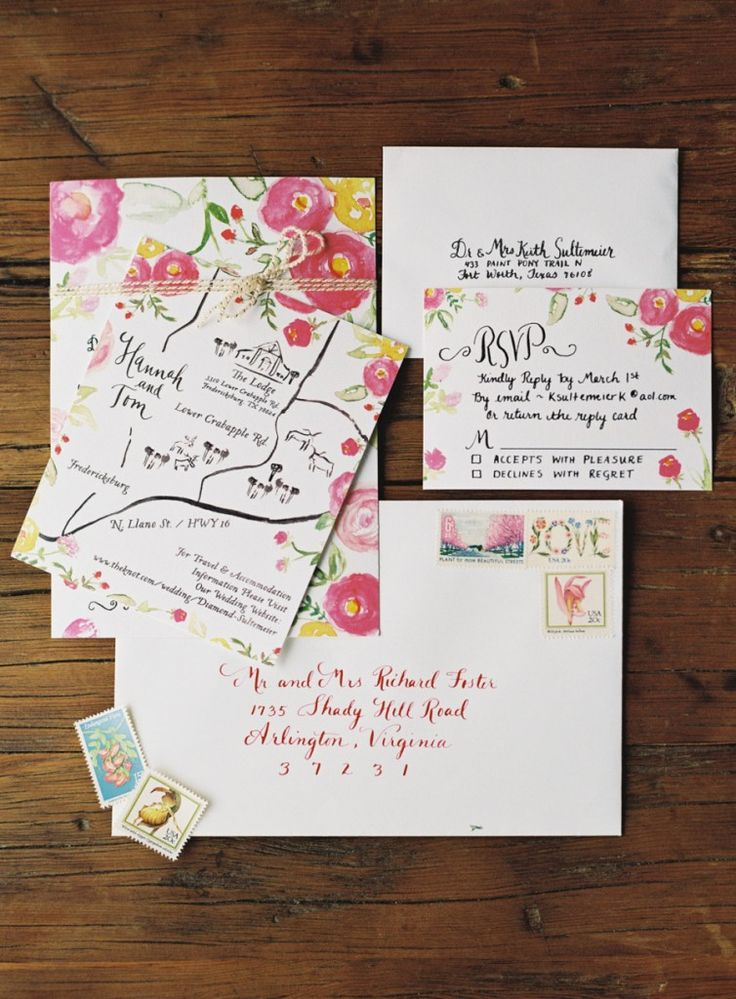 tie the knot wedding invitations etsy%0A Invitacion de Boda con flores pintadas