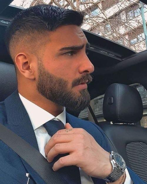 for more of mens fashion and tips Beard Styles For Men, Hair And Beard Styles, Short Hair Styles, Men Facial Hair Styles, Goatee Styles, Mens High Fade Haircut, Handsome Men Quotes, Strong Woman Tattoos, Beard Haircut