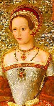 Katherine Parr. Part of the images of the wives of Henry VIII, this shows the face and bodice of Katherine Parr in a gorgeous French hood and mid-century dress.