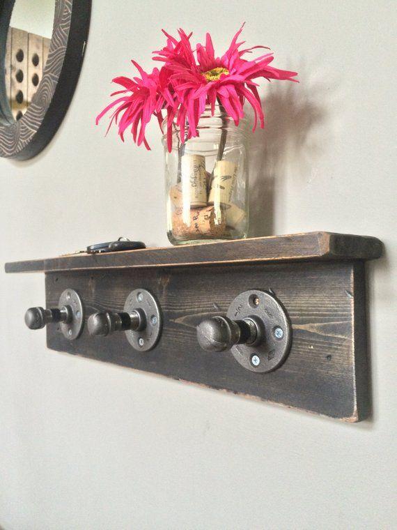 Corinne Rustic Industrial Pipe Entryway Coat Rack, Rustic Wooden Shelf, Modern Entryway Rack, Coat Rack, Rustic Home Decor, Floating Shelf