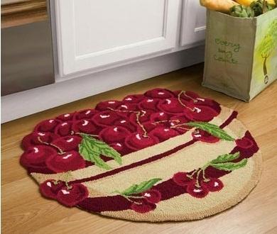 Elegant Bowl Of Cherries Kitchen Fruit Cherry Decor Accent Floor Rug Door Mat