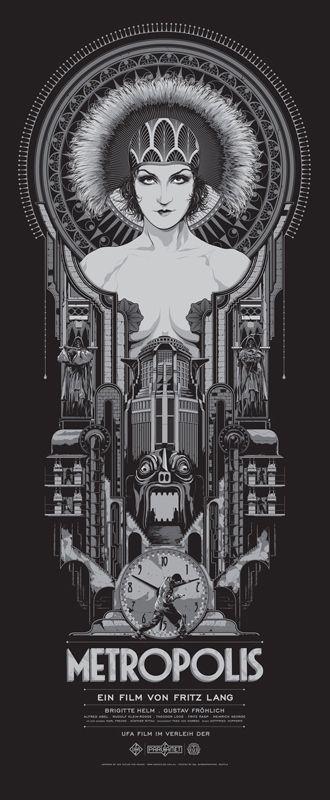 Arte inspiração no filme Metrópolis (1927) - Expressionismo alemão de Fritz Lang