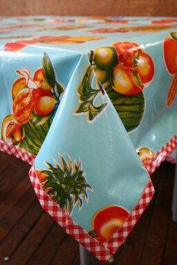 48 X 70 Cool Blue Tropical Fruit Oilcloth Tablecloth Floor Mat Or Splat Mat