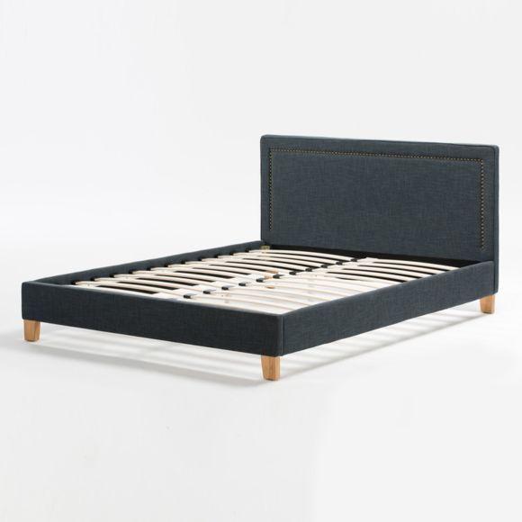 Marque Generique - Lit deux personnes tissu gris bleuté 140X190cm avec tête de lit cloutée & sommier Erik NC