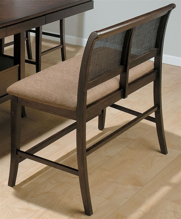 Counter Height Cane Back Dining Bench W Upholstered Seat Armless Benches To Maximize Seating At The Table