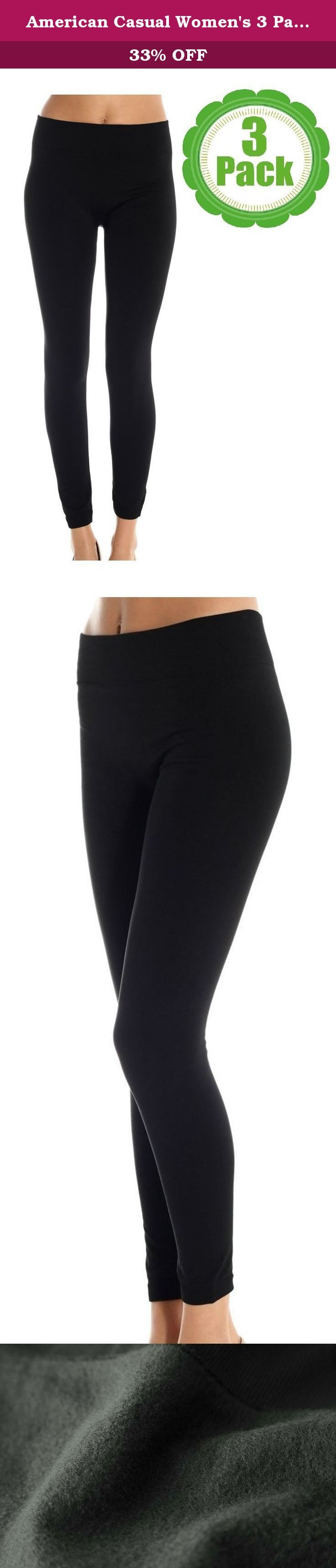 American Casual Women's 3 Pack Fleece Lined Leggings (Large/X-Large-Black ). Brave the cold weather this season with the stylish and comfortable American Casual Fleece Leggings - featuring a soft, fleece lined interior, a high-waist compression top, and a variety of bright colors, our cozy fleece leggings contour your body without adding excess bulk.