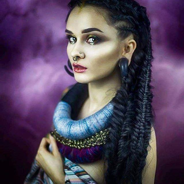 Aga Czech #photo by @lhicarone #hair by @mandalastudio22 #makeup by @makeup_by_joanna_sosnicka   #braids #picoftheday #photoshoot #shaman #boho #piercing #alternativegirl #altmodel #alternative #model #wroclaw #wroclove #ethnicwear #❤ # #alternativehair #beauty
