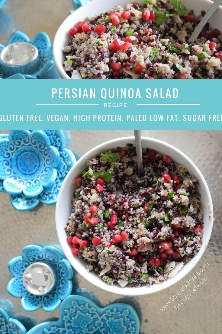 persian quinoa salad with pomegranate and mint vegan