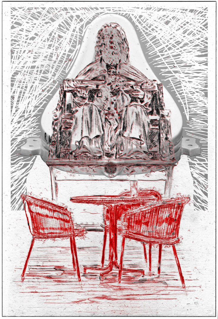 Sneak peek_07 Wolfgang Neumann, Gnadenstuhl / Mercy Seat 2014, digitale Radierung auf PVC Digital etching on PVC, 200 x 120 cm Auflage 3 Exemplare / Edition of 3