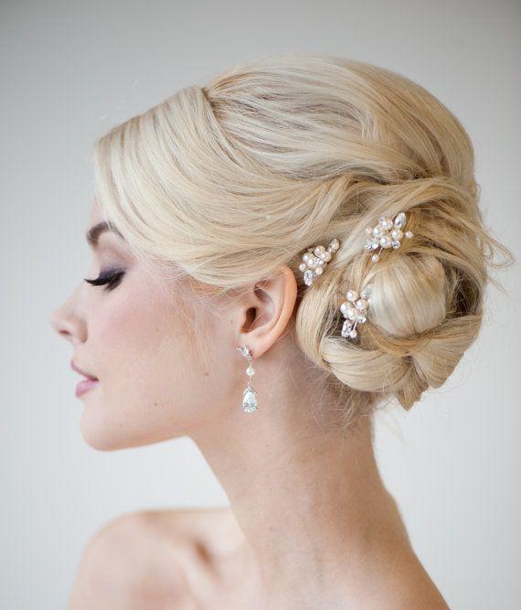 Bridal Hairpins Wedding Hairpins Swarovski by PowderBlueBijoux, $59.00
