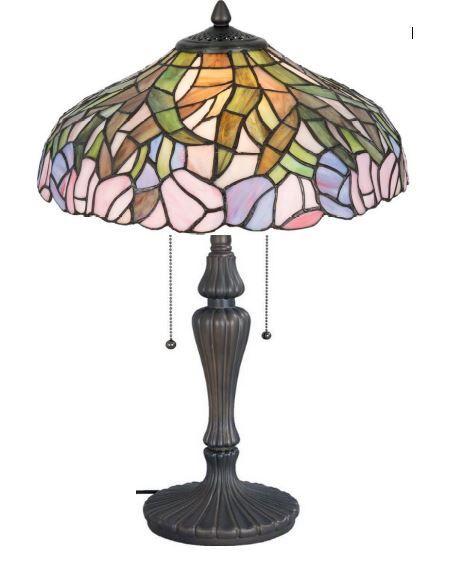 41cm ø TIFFANY-Tisch-Lampe, unsere Serie MADAGASKAR.  Ø 41*  ca. 60cm hoch. 2 x E27  max je 60w   mit praktischer Zug-Schaltung !  um das Motiv MADAGASKAR zu betonen wurden hier viele besondere ausgesuchte TIFFANY-Glasteilen sorgfältig zusammen gefügt.