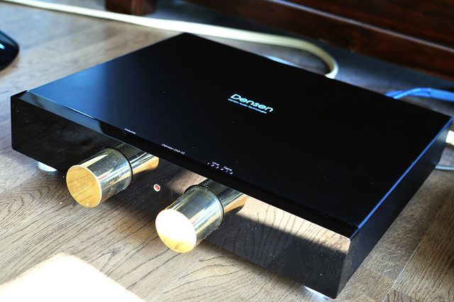 The legendary Densen DM-10 amplifier. This was Densen's first and signature product. Later integrated amps were produced at lower cost. Zero-feedback a massive dual toroidal PSU inside produces masses of power (80,000 MF!!) with negligible distortion. 17kg!  Probably the best amp I've heard...