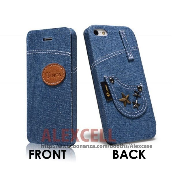 Denim Jeans Flip case for Iphone 5/5s Star (get 1 plastic case free)