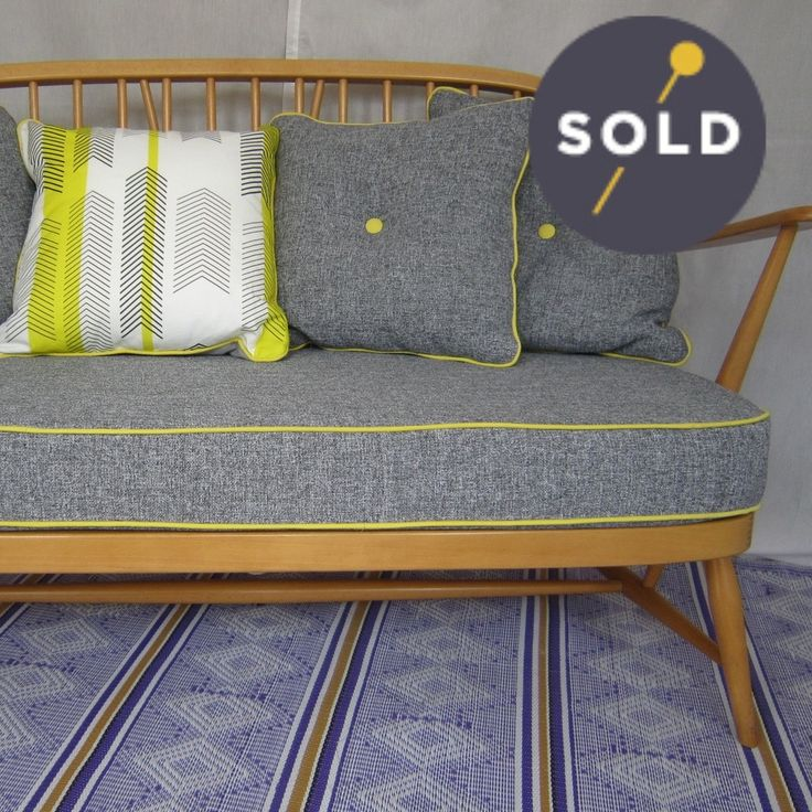 yet more shameless self-promotion- perfectly piped Ercol 2 seater in grey and Tickety-Boo yellow
