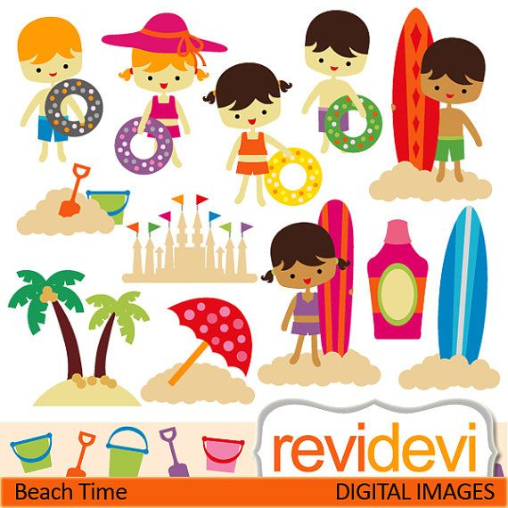 Clipart Beach Time 07387 Commercial use graphic images by revidevi, $5.95