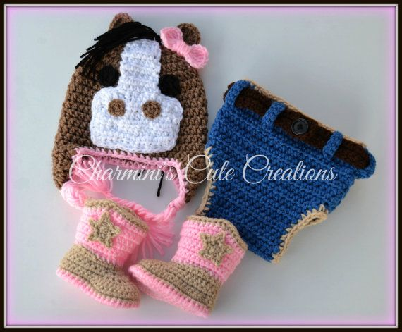 Handmade Crochet cowgirl set  horse hat with jeans diaper cover by charmini, $42.00