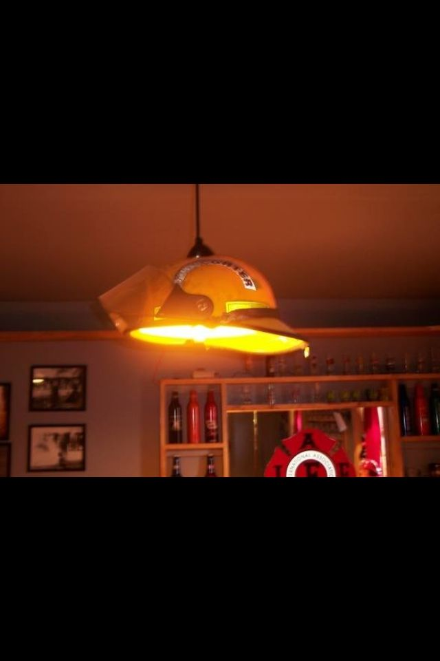 #Fire helmet turned into a kitchen light. Another way of reuse and recycling old #firedepartment gear and equipment.