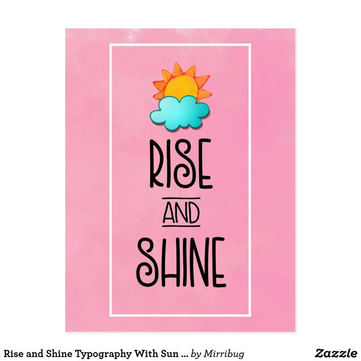 Rise and Shine Typography With Sun and Cloud Postcard