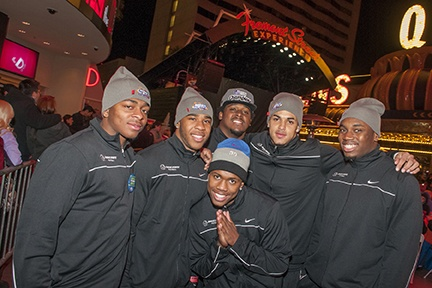 Boise State Broncos took in dinner and a show at the Fremont Street Experience. The Broncos take on Univeristy of Washington Huskies at the Maaco Bowl Las Vegas Saturday, Dec. 22.