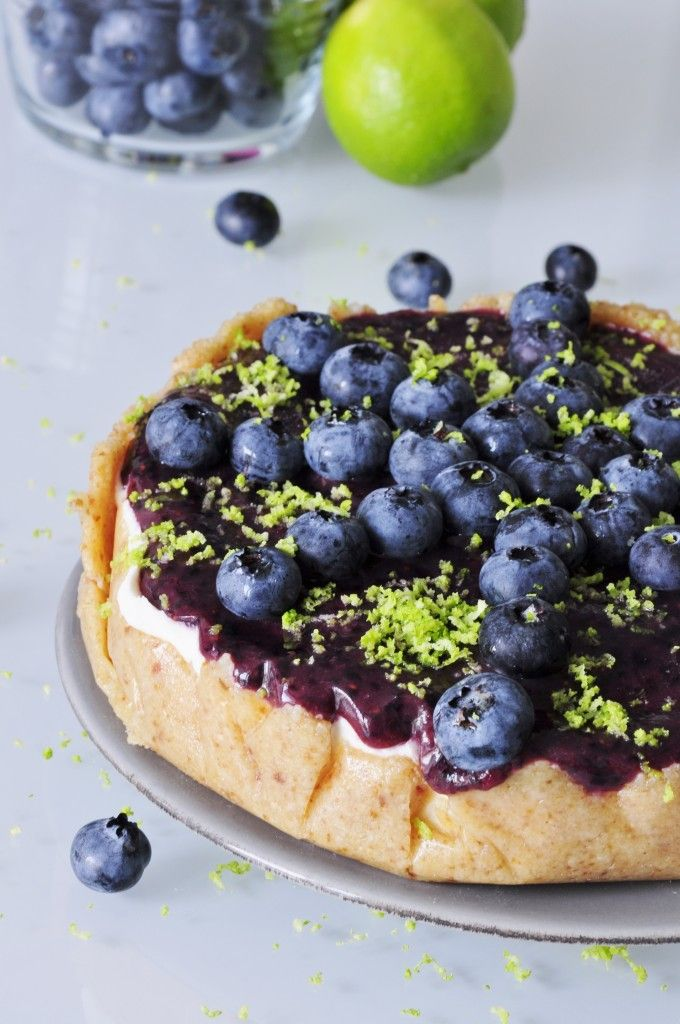 Blueberry Lime Cheesecake with a Macadamia Crust #paleo #glutenfree #cheesecake